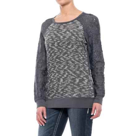 Rock & Roll Cowgirl Lace Sleeve Sweater (For Women) in Gray - Closeouts