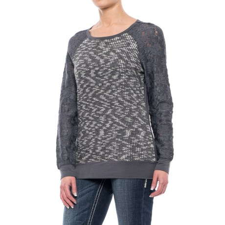 Rock & Roll Cowgirl Lace Sleeve Sweater (For Women) in Gray