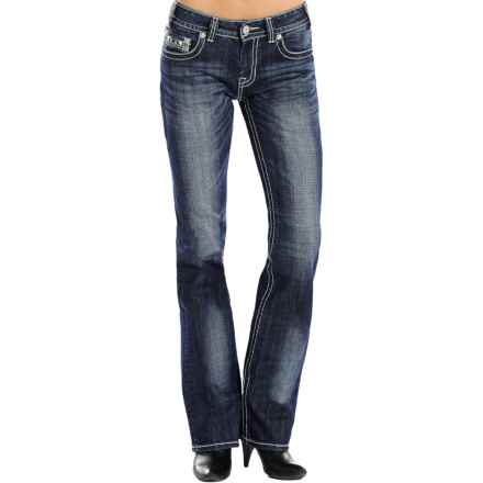 Rock & Roll Cowgirl Leather and Rhinestone Jeans - Mid Rise, Bootcut (For Women) in Dark Vintage Wash - Closeouts