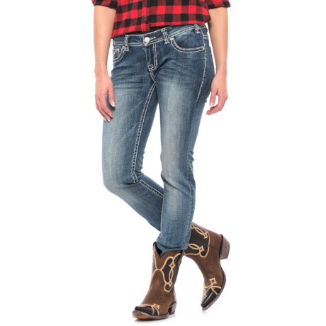 Rock & Roll Cowgirl Leather and Rhinestones Skinny Jeans - Low Rise (For Women) in Light Vintage Wash
