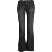 Rock & Roll Cowgirl Leather Cross Jeans - Low Rise, Bootcut (For Women) in Black - Closeouts