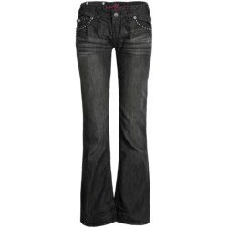 Rock & Roll Cowgirl Leather Cross Jeans - Low Rise, Bootcut (For Women) in Black