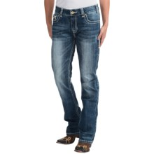 Rock & Roll Cowgirl Leather Detail Jeans - Boyfriend Fit, Mid Rise, Bootcut (For Women) in Medium Vintage Wash - Closeouts