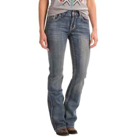 Rock & Roll Cowgirl Leather Tack Bootcut Jeans - Mid Rise (For Women) in Medium Wash - Closeouts