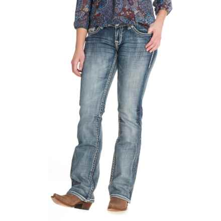 Rock & Roll Cowgirl Line Pocket Jeans - Riding Fit, Bootcut (For Women) in Light Wash - Closeouts