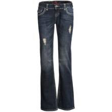 Rock & Roll Cowgirl Lurex® Deco Stitching Jeans - Low Rise, Bootcut (For Women) in Dark Wash - Closeouts