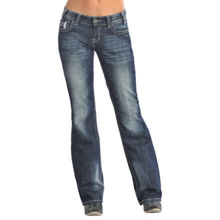 Rock & Roll Cowgirl Metallic Embroidery Jeans - Mid Rise, Bootcut (For Women) in Dark Vintage Wash - Closeouts