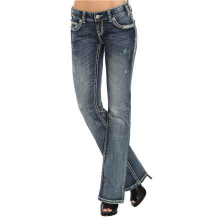 Rock & Roll Cowgirl Metallic Stitch Rhinestone Jeans - Bootcut, Low Rise (For Women) in Medium Destroyed Wash - Closeouts