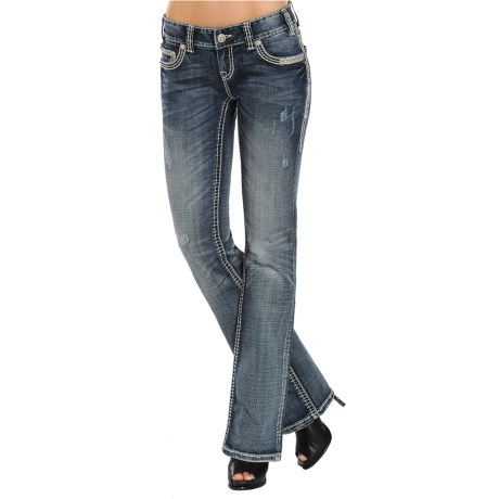 Rock & Roll Cowgirl Metallic Stitch Rhinestone Jeans - Bootcut, Low Rise (For Women)