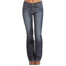 Rock & Roll Cowgirl Mid-Rise Bootcut Jeans - White and Turquoise Pocket (For Women) in Medium Vintage Wash - Overstock