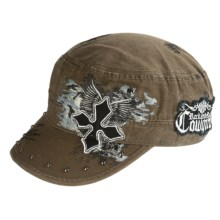 Rock & Roll Cowgirl Military Style Cap (For Women) in Olive Twill - Closeouts