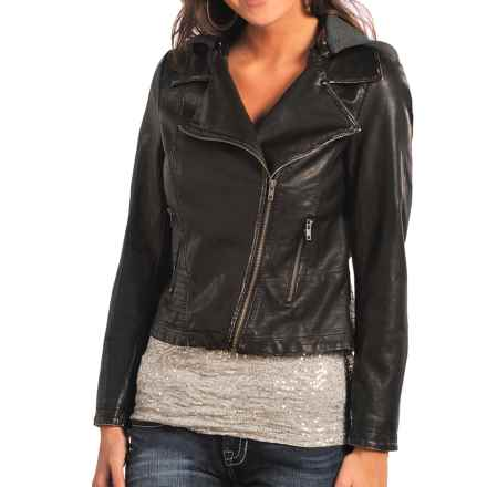 Rock & Roll Cowgirl Moto Pleather Jacket - Detachable Knit Hood (For Women) in Chocolate - Closeouts