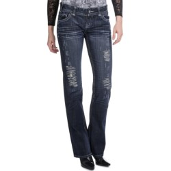 Rock & Roll Cowgirl Motorcycle Cross Design Jeans - Low Rise, Bootcut (For Women) in 42 Dark Wash
