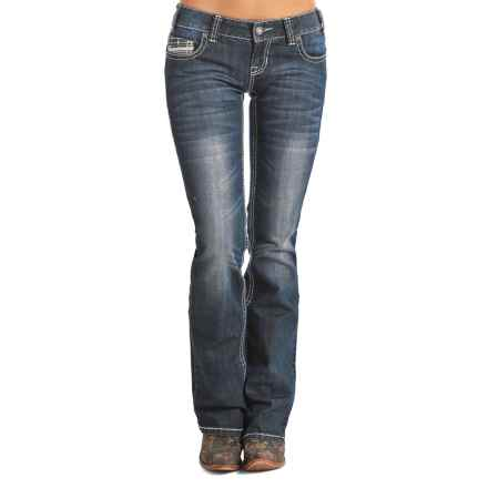 Rock & Roll Cowgirl Multi-Stitch Jeans - Low Rise, Bootcut (For Women) in Dark Vintage - Closeouts