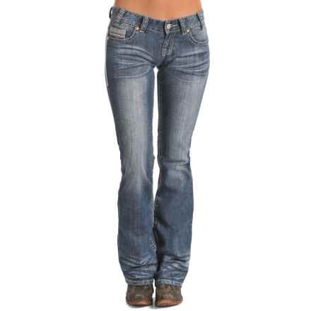 Rock & Roll Cowgirl Multi-Stitch Jeans - Low Rise, Bootcut (For Women) in Medium Vintage Wash - Closeouts