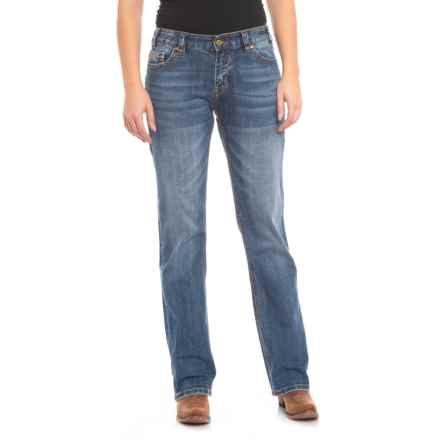 Rock & Roll Cowgirl Multi-Stitched Pocket Boyfriend Jeans - Straight Leg (For Women) in Medium Vintage - Closeouts
