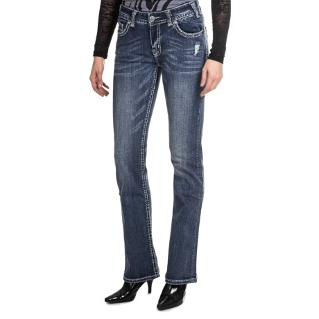 Rock & Roll Cowgirl Nailhead Bootcut Jeans (For Women) in Medium Wash