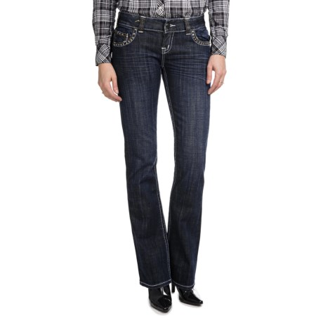 Rock & Roll Cowgirl Nailhead Cross Back Pocket Jeans - Low Rise, Bootcut (For Women) in Dark Wash