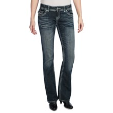 Rock & Roll Cowgirl Nailhead Leather Applique Jeans - Low Rise, Bootcut (For Women) in Medium Wash - Closeouts