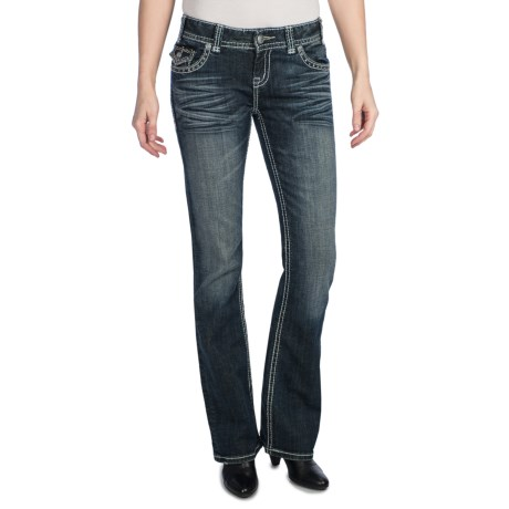 Rock & Roll Cowgirl Nailhead Leather Applique Jeans - Low Rise, Bootcut (For Women) in Medium Wash