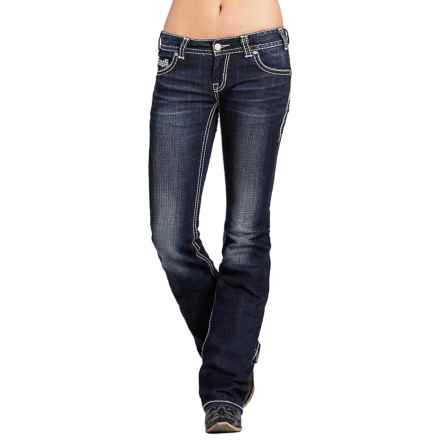 Rock & Roll Cowgirl Original Metallic-Embroidery Jeans - Low Rise, Bootcut (For Women) in Dark Vintage - Closeouts