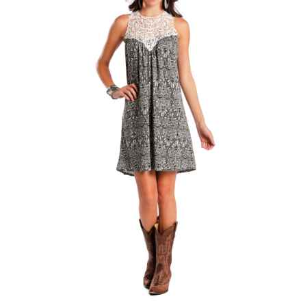 Rock & Roll Cowgirl Paisley Racerback Dress - Sleeveless (For Women) in White - Closeouts