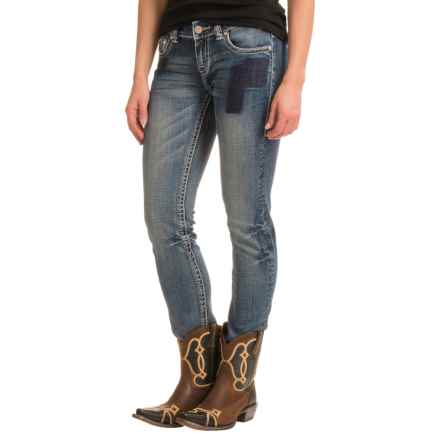 Rock & Roll Cowgirl Patched Skinny Jeans - Low Rise (For Women) in Medium Vintage - Closeouts