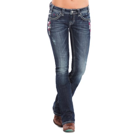 Rock & Roll Cowgirl Pink Chevron Rival Jeans - Low Rise, Bootcut (For Women) in Dark Vintage Wash