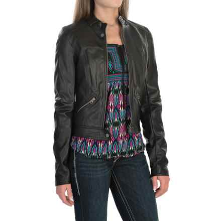 Rock & Roll Cowgirl Pleather Snap-Tab Crop Jacket (For Women) in Black - Closeouts