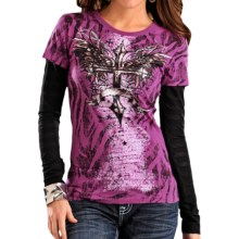 Rock & Roll Cowgirl Pring Crew Neck - Long Burnout Sleeve (For Women) in Dark Orchid - Closeouts