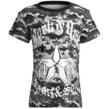 Rock & Roll Cowgirl Print Jersey T-Shirt - Short Sleeve (For Girls) in Grey/Black - Closeouts