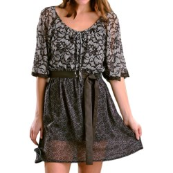 Rock & Roll Cowgirl Printed Peasant Dress - 3/4 Flutter Sleeve (For Women) in Brown