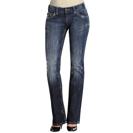 Rock & Roll Cowgirl Pyramid Nailhead Flap Pocket Jeans - Mid Rise, Bootcut (For Women) in Med Wash