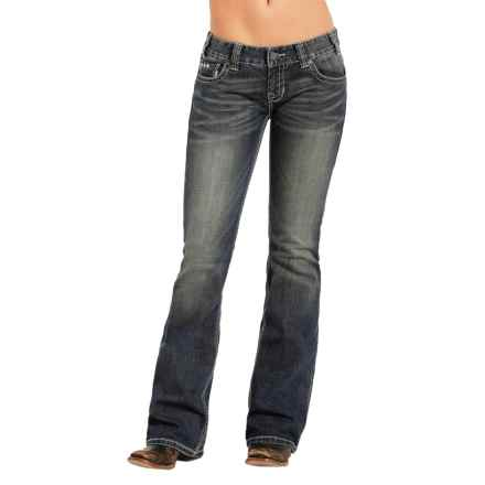 Rock & Roll Cowgirl Pyramid Stud Jeans - Low Rise, Bootcut (For Women) in Dark Vintage - Closeouts