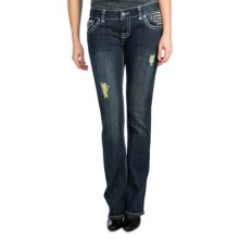 Rock & Roll Cowgirl Pyramid Studded Jeans - Low Rise, Bootcut (For Women) in Medium Wash - Closeouts