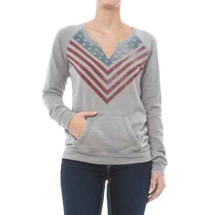 Rock & Roll Cowgirl Raglan Sleeve Sweatshirt - Split Neck (For Women) in Pale Grey - Closeouts