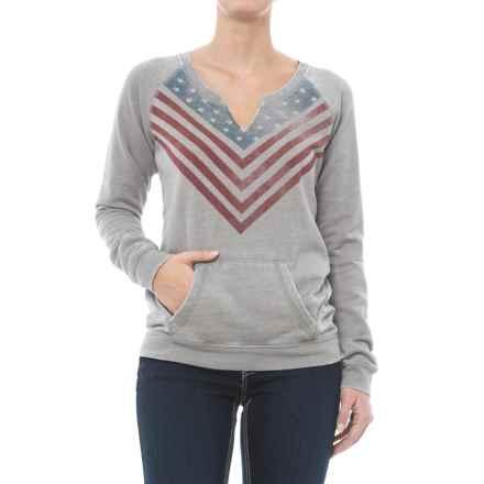 Rock & Roll Cowgirl Raglan Sleeve Sweatshirt - Split Neck (For Women) in Pale Grey - Closeouts