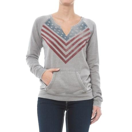 Rock & Roll Cowgirl Raglan Sleeve Sweatshirt - Split Neck (For Women) in Pale Grey