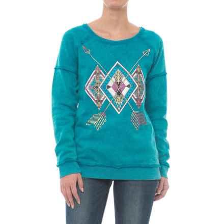 Rock & Roll Cowgirl Raw-Edge Aztec Screenprint Sweatshirt (For Women) in Bright Turquoise - Closeouts