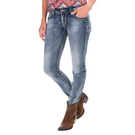 Rock & Roll Cowgirl Raw Edge Hem Skinny Jeans - Low Rise (For Women) in Dark Vintage - Closeouts