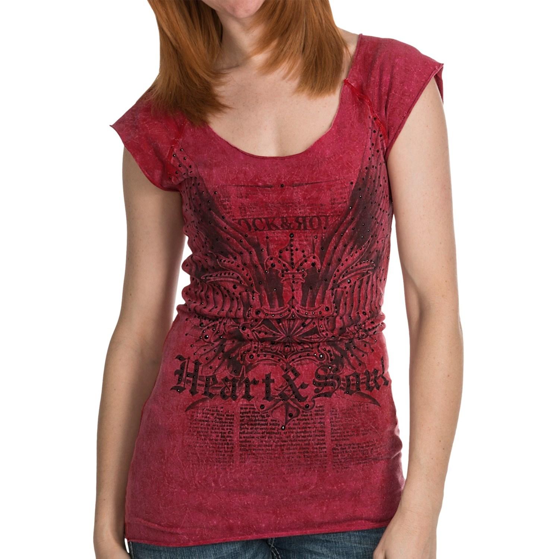 Rock roll cowgirl raw edge tunic t shirt short raglan for Raw edge t shirt women s