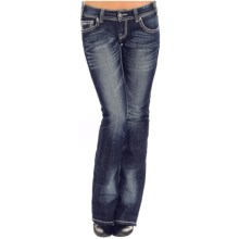Rock & Roll Cowgirl Rhinestone Chevron Jeans - Low Rise, Bootcut (For Women) in Dark Vintage Wash - Closeouts