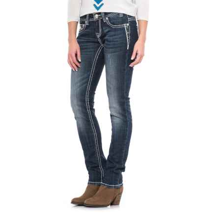 Rock & Roll Cowgirl Rhinestone Embroidery Skinny Jeans - Low Rise (For Women) in Dark Vintage - Closeouts