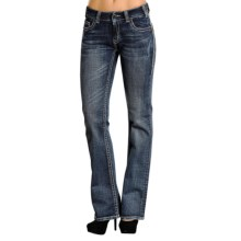 Rock & Roll Cowgirl Rhinestone Jeans - Bootcut, Mid Rise (For Women) in Medium Wash - Closeouts