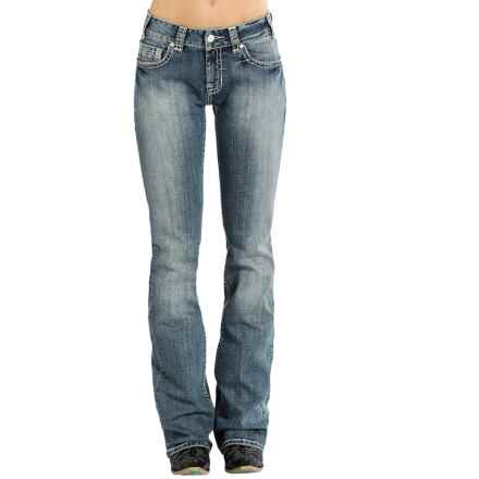 Rock & Roll Cowgirl Rhinestone Pocket Jeans - Mid Rise, Bootcut (For Women) in Light Vintage Wash - Overstock