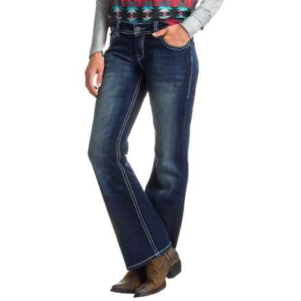 Rock & Roll Cowgirl Rhinestone Riding Jeans - Bootcut (For Women) in Dark Vintage - Closeouts