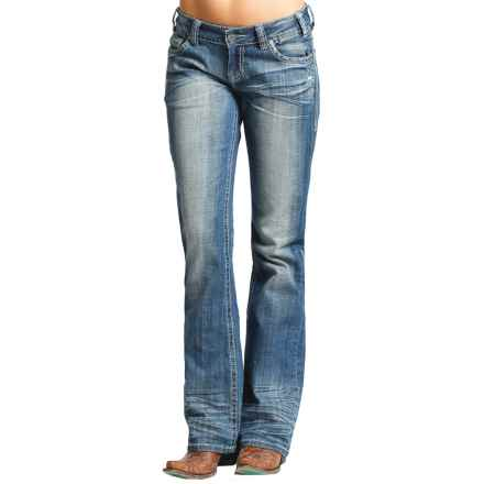Rock & Roll Cowgirl Rhinestone Riding Jeans - Bootcut (For Women) in Medium Vintage - Closeouts