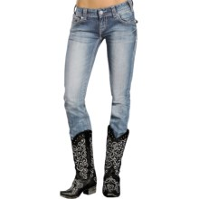 Rock & Roll Cowgirl Rhinestone Skinny Jeans - Low Rise (For Women) in Medium Vintage Wash - Closeouts