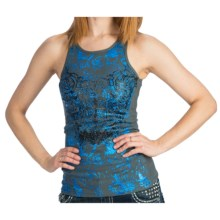 Rock & Roll Cowgirl Rib-Knit Print Tank Top - Scoop Neck (For Women) in Grey - Closeouts