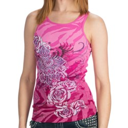 Rock & Roll Cowgirl Rib-Knit Print Tank Top - Scoop Neck (For Women) in Pink